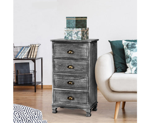 Artiss Bedside Tables Vintage 4 Chest of Drawers Grey