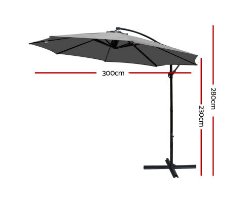 Instahut 3M Outdoor Furniture Garden Pool Umbrella - Grey