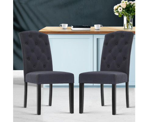 Artiss 2x Dining Chairs French Provincial Kitchen Cafe Fabric Padded High Back Pine Wood Grey