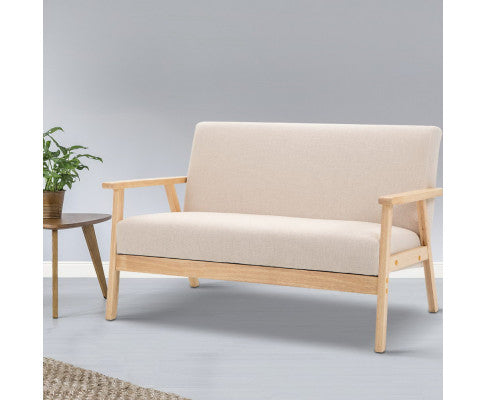 Artiss 2 Seater Fabric Sofa Chair - Beige