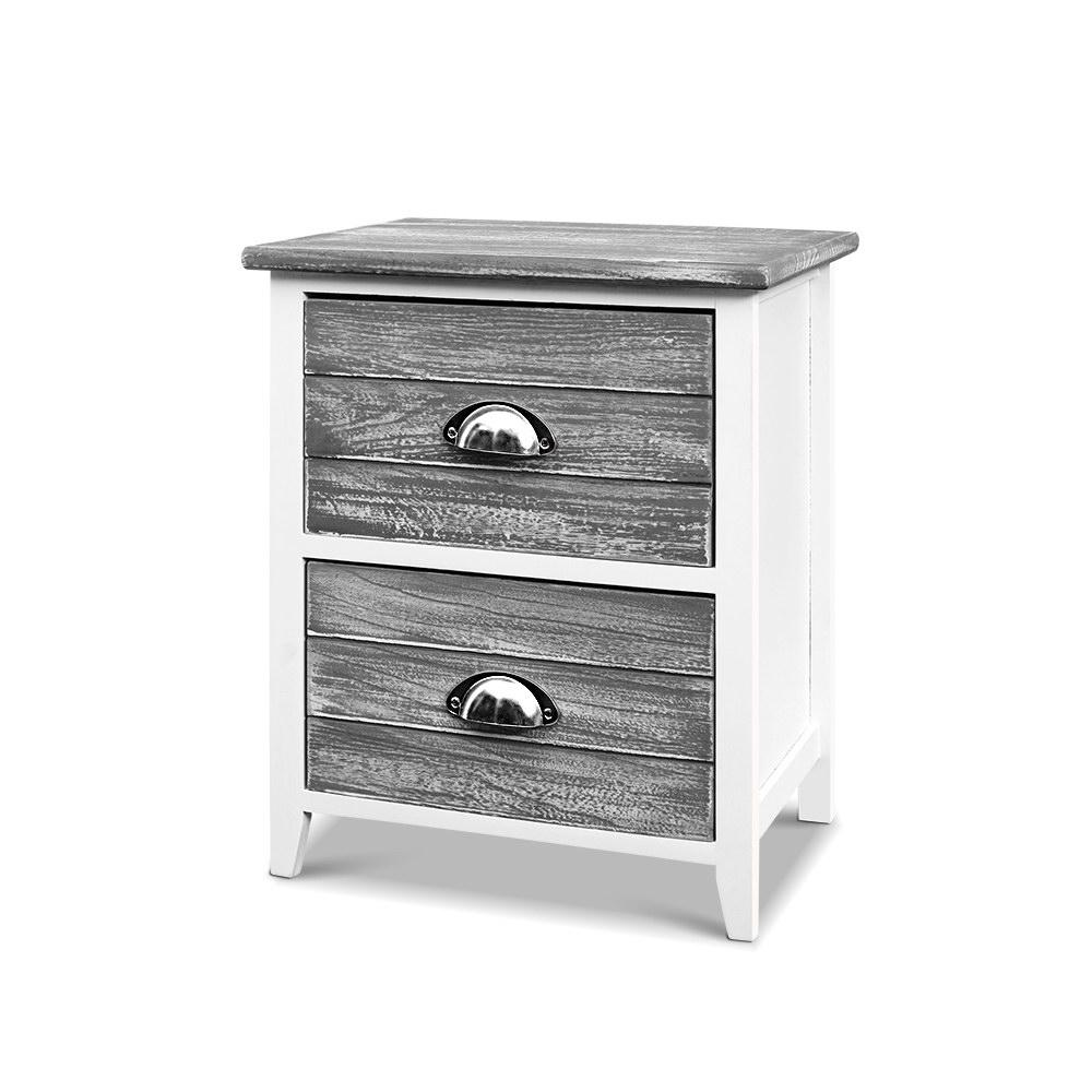 Artiss 2x Bedside Table Nightstands 2 Drawers Storage Cabinet Bedroom Side Grey - Pizzazz Hub
