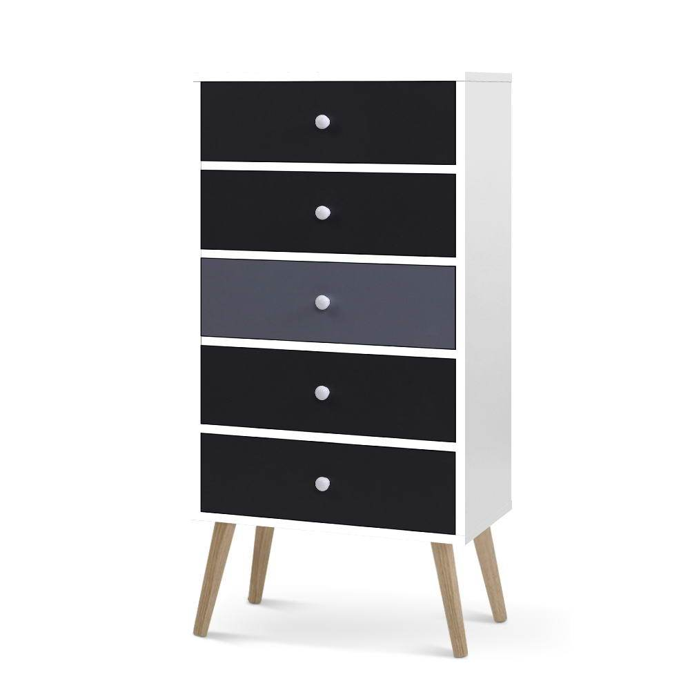Artiss 5 Chest of Drawers Tallboy - Black - Pizzazz Hub