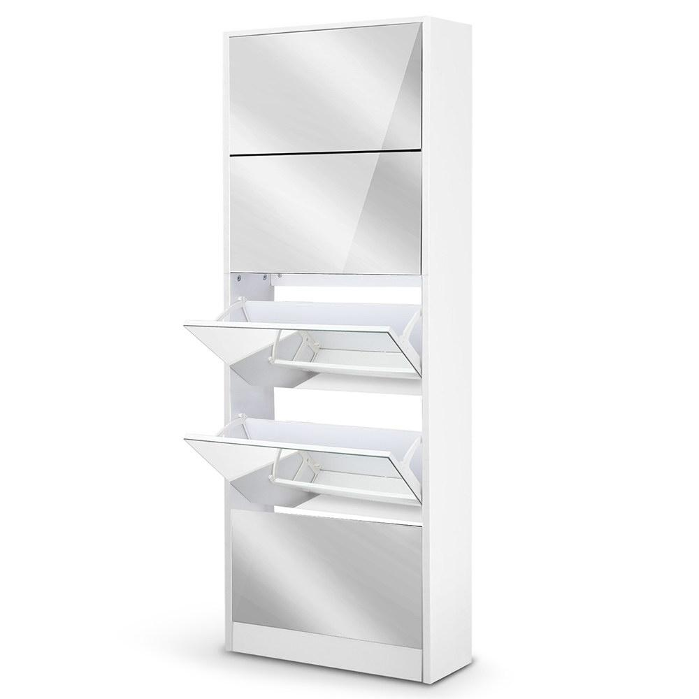 Artiss 5 Drawer Mirrored Wooden Shoe Cabinet - White - Pizzazz Hub