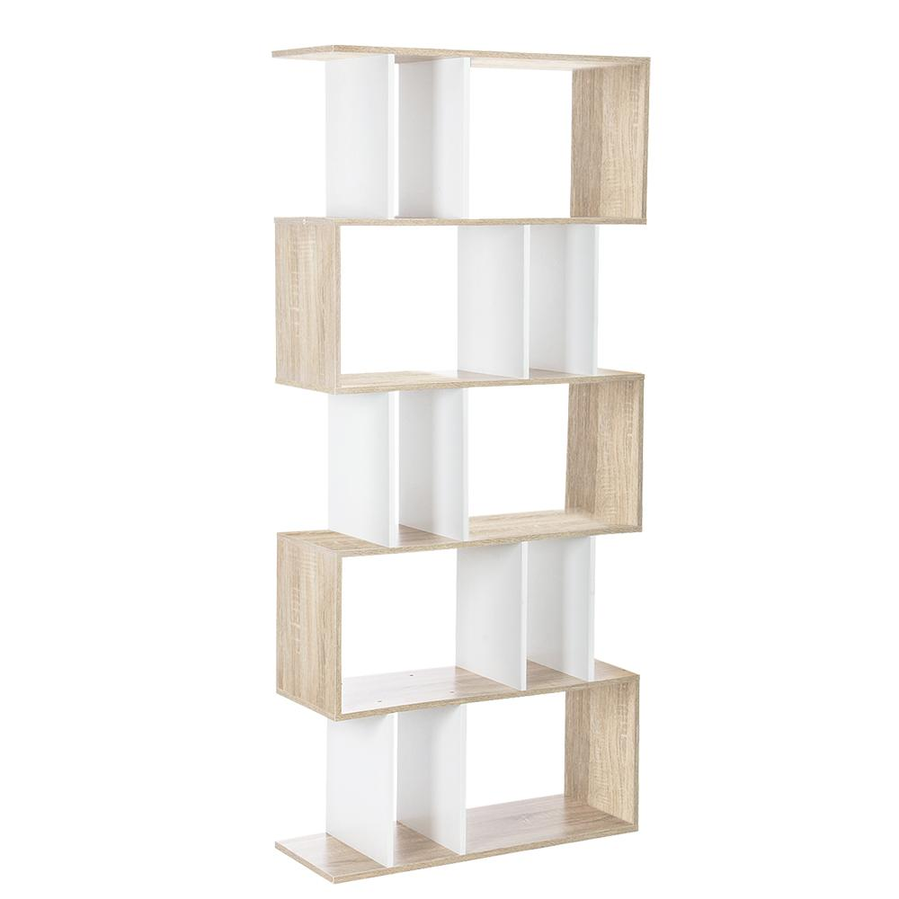 Artiss 5 Tier Display Book Storage Shelf Unit - White Brown - Pizzazz Hub