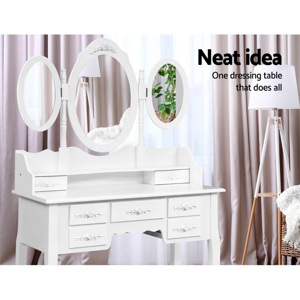 Artiss 7 Drawer Dressing Table with Mirror - White - Pizzazz Hub