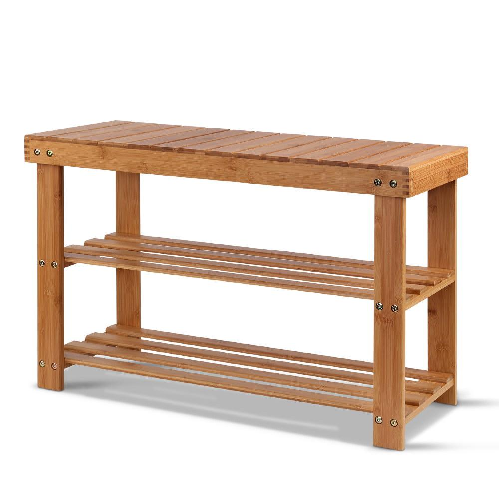 Artiss Bamboo Shoe Rack Wooden Seat Bench Organiser Shelf Stool - Pizzazz Hub