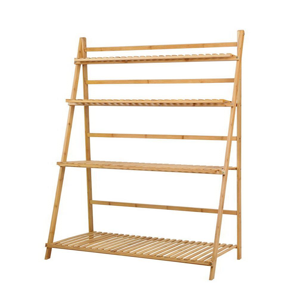 Artiss Bamboo Wooden Ladder Shelf Plant Stand Foldable - Pizzazz Hub
