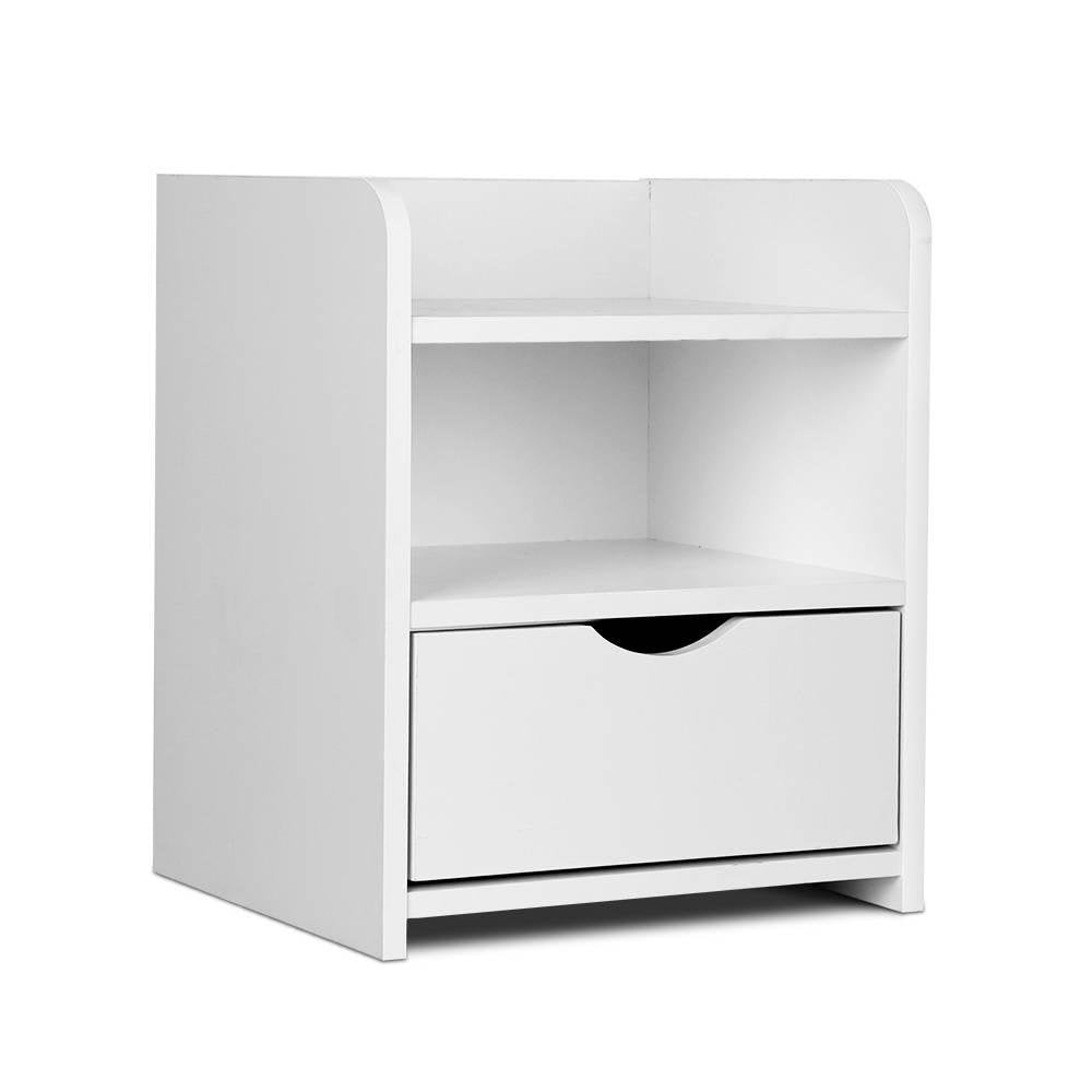 Artiss Bedside Table Drawer - White - Pizzazz Hub