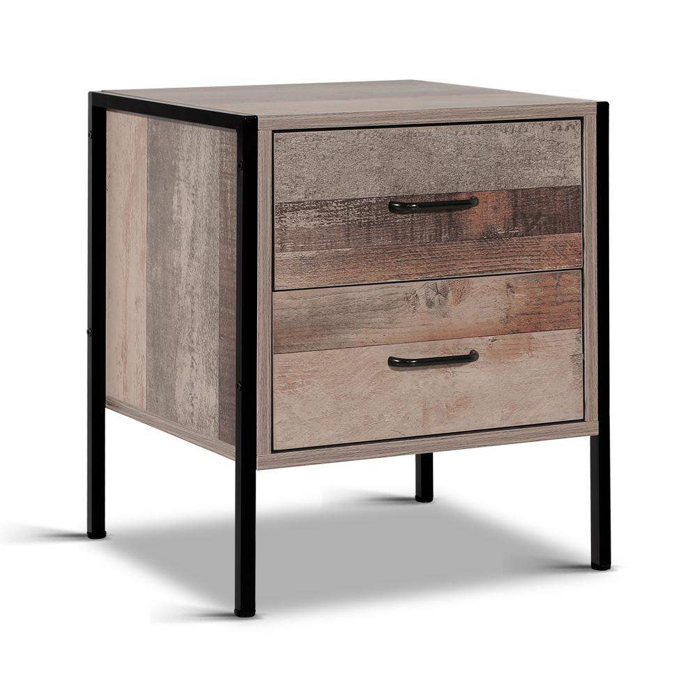 Artiss Bedside Table Drawers Nightstand Metal Oak - Pizzazz Hub
