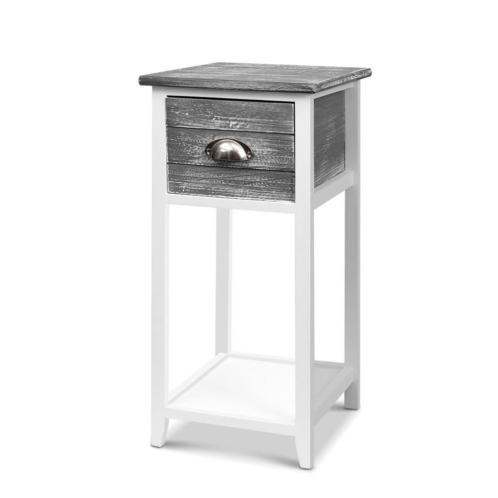 Artiss Bedside Table Nightstand Drawer Storage Cabinet Lamp Side Shelf Unit Grey - Pizzazz Hub