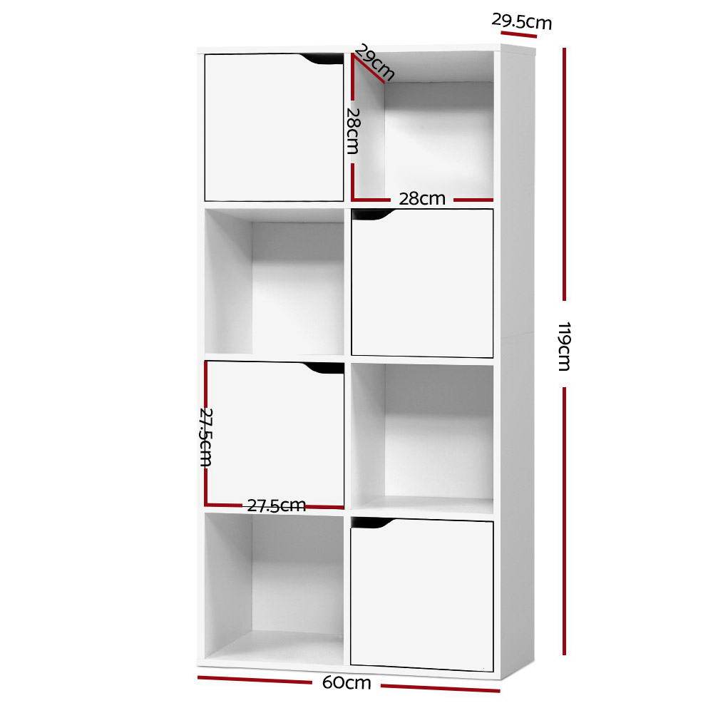 Artiss Display Shelf 8 Cube Storage 4 Door Cabinet - White - Pizzazz Hub