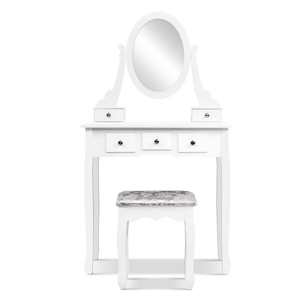 Artiss Dressing Table Stool Set Mirror Drawers Makeup Cabinet Storage Desk White - Pizzazz Hub