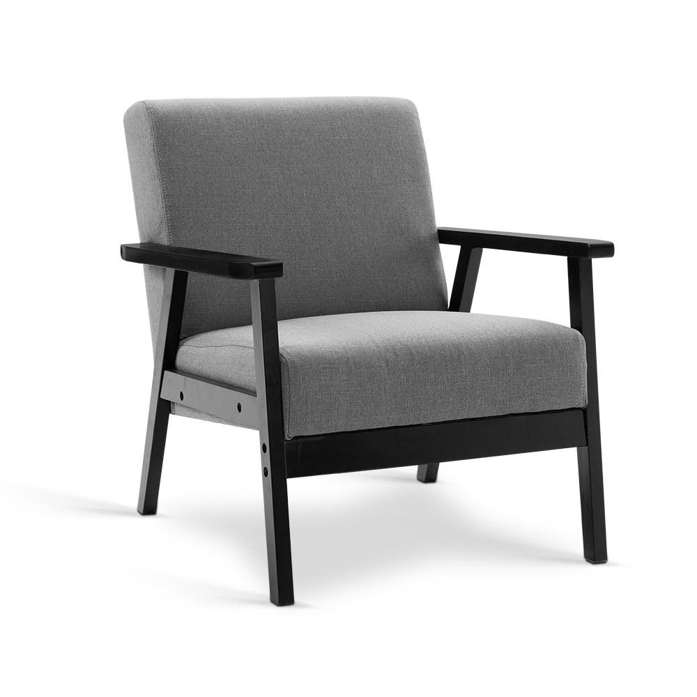 Artiss Fabric Dining Armchair - Black & Grey - Pizzazz Hub