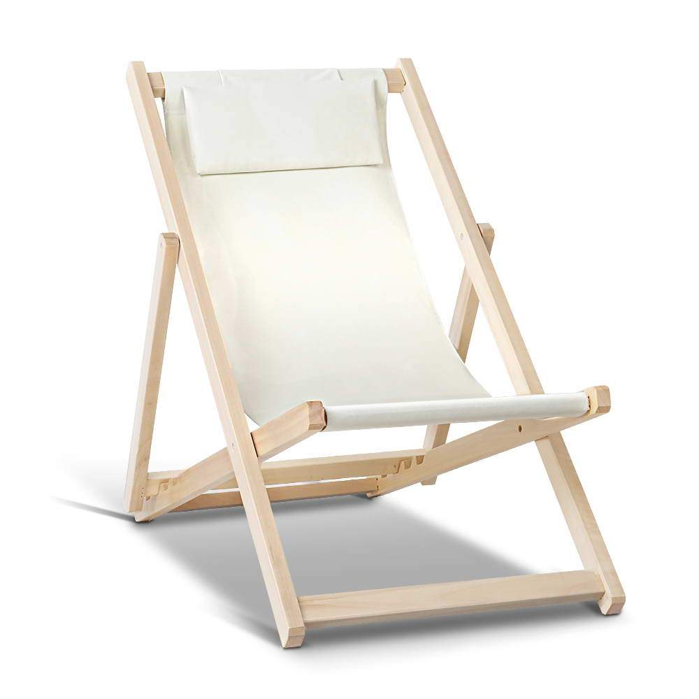 Artiss Fodable Beach Sling Chair - Sand - Pizzazz Hub