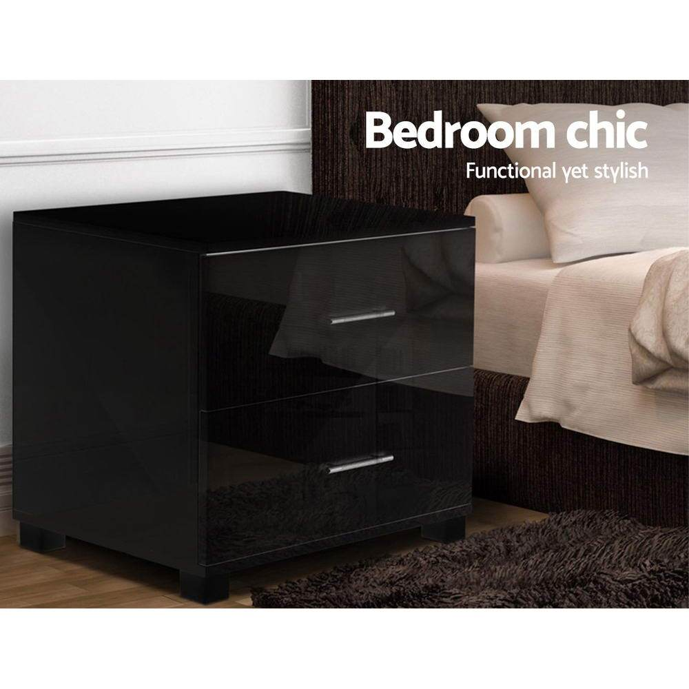 Artiss High Gloss Two Drawers Bedside Table - Black - Pizzazz Hub