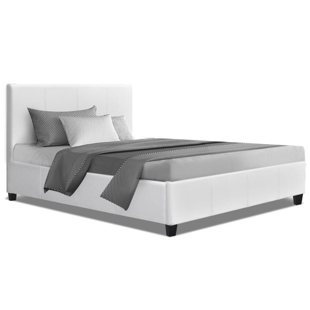 Artiss King Single Size Bed Frame White Leather Wooden NEO - Pizzazz Hub
