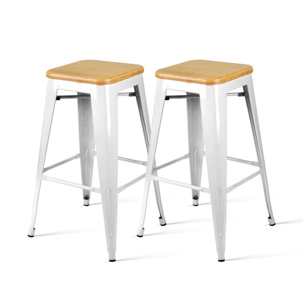 Artiss Set of 2 Metal and Bamboo Bar Stools - White - Pizzazz Hub