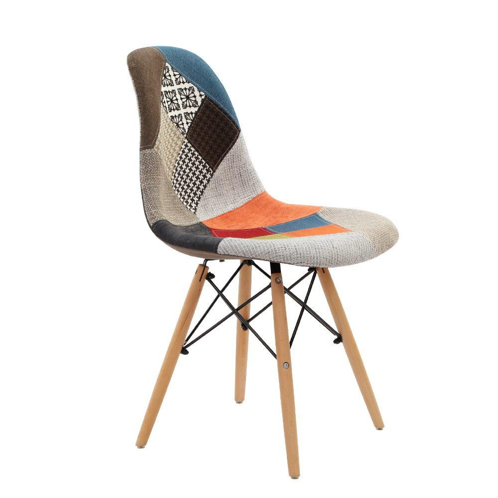 Artiss Set of 4 Retro Beech Fabric Dining Chair - Multi Colour - Pizzazz Hub