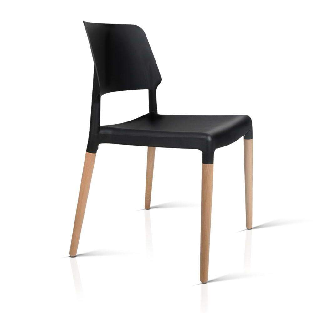 Artiss Set of 4 Wooden Stackable Dining Chairs - Black - Pizzazz Hub