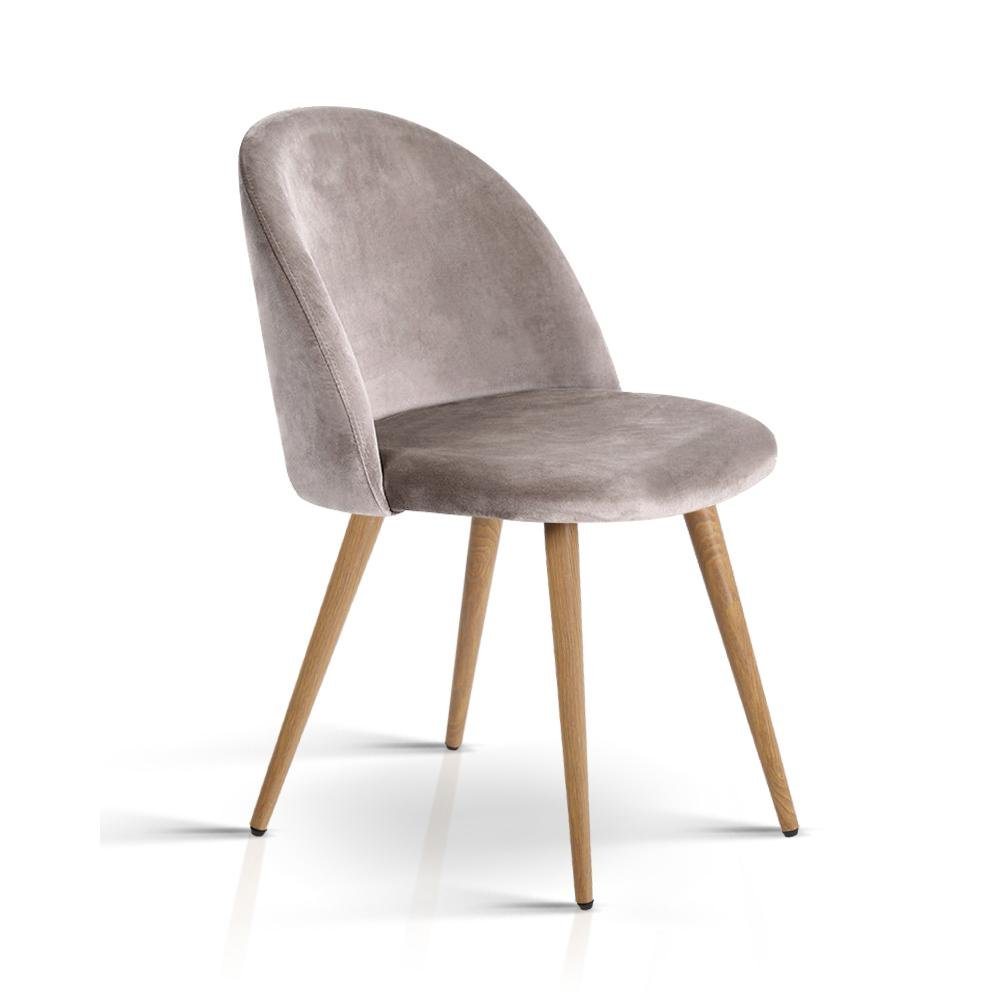 Artiss Set of Two Velvet Modern Dining Chair - Light Grey - Pizzazz Hub