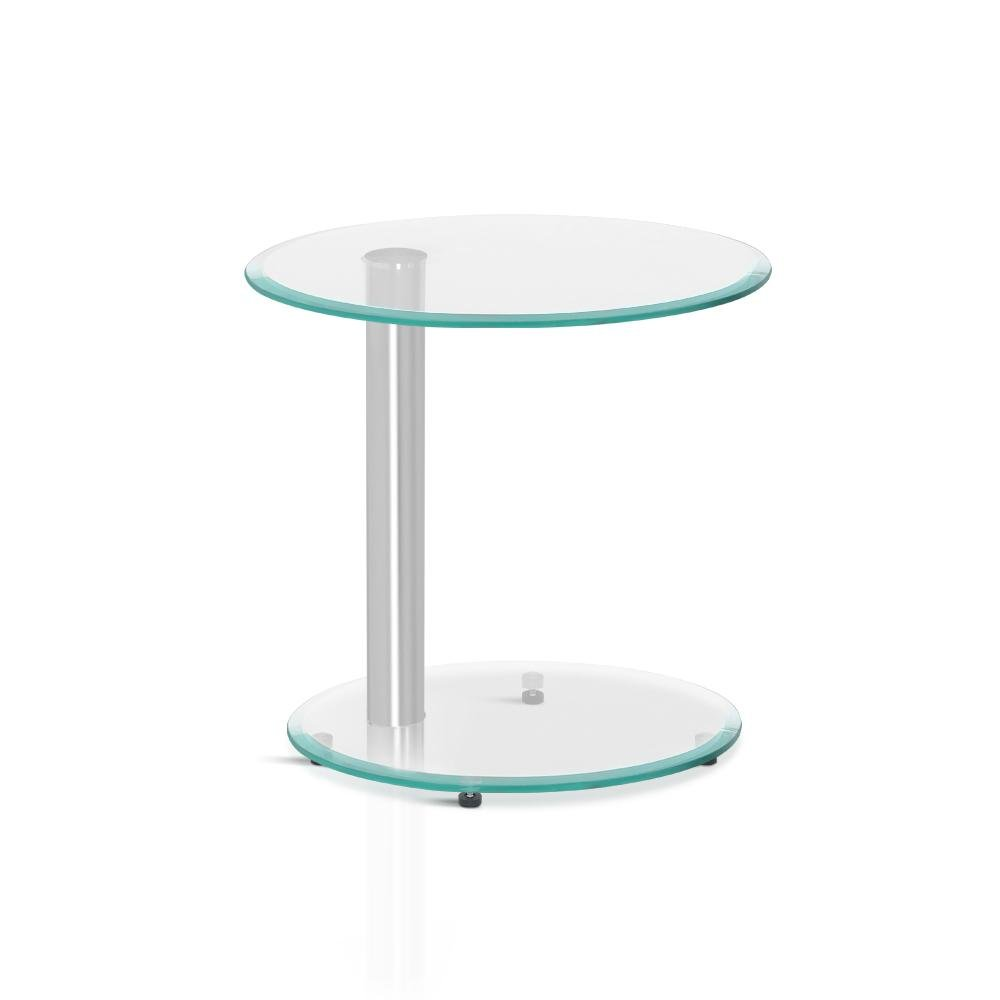 Artiss Side Coffee Table Bedside Furniture Oval Tempered Glass Top 2 Tier - Pizzazz Hub