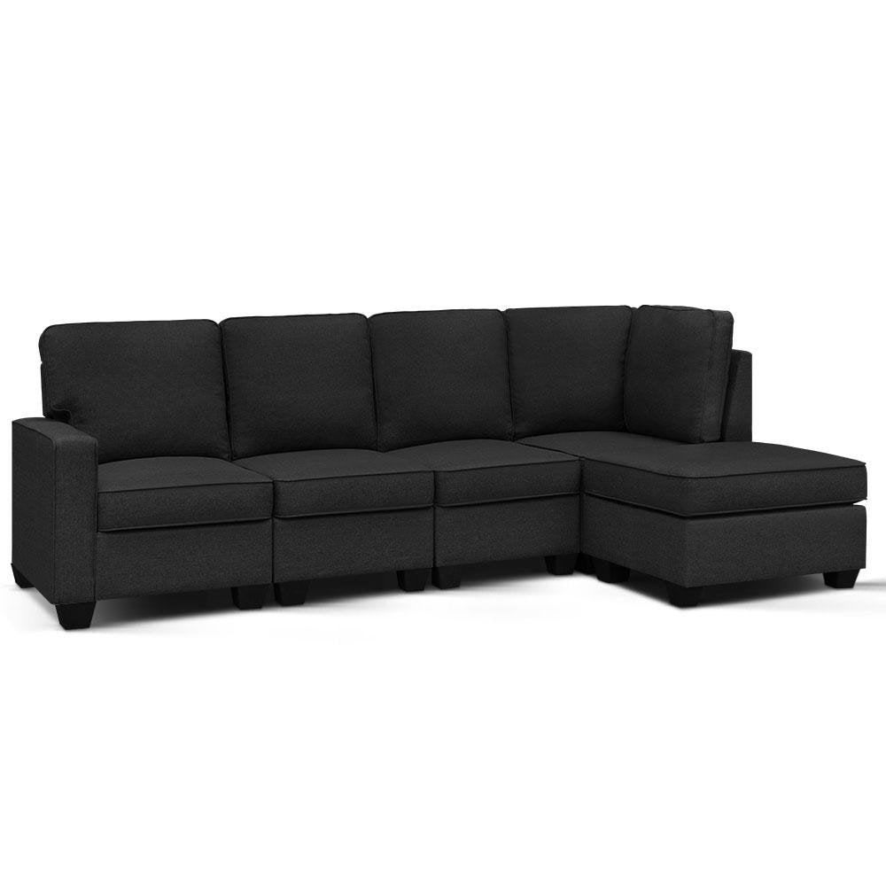 Artiss Sofa Lounge Set 5 Seater Modular Chaise Chair Suite Couch Dark Grey - Pizzazz Hub