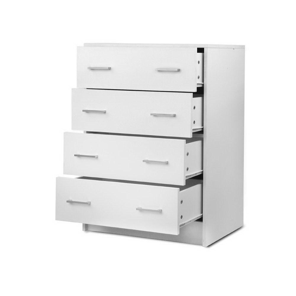 Artiss Tallboy 4 Drawers Storage Cabinet - White - Pizzazz Hub