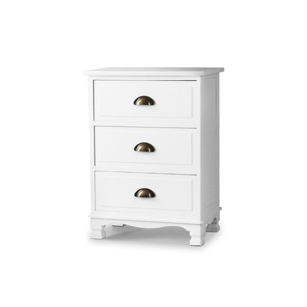 Artiss Vintage Bedside Table Chest Storage Cabinet Nightstand White - Pizzazz Hub