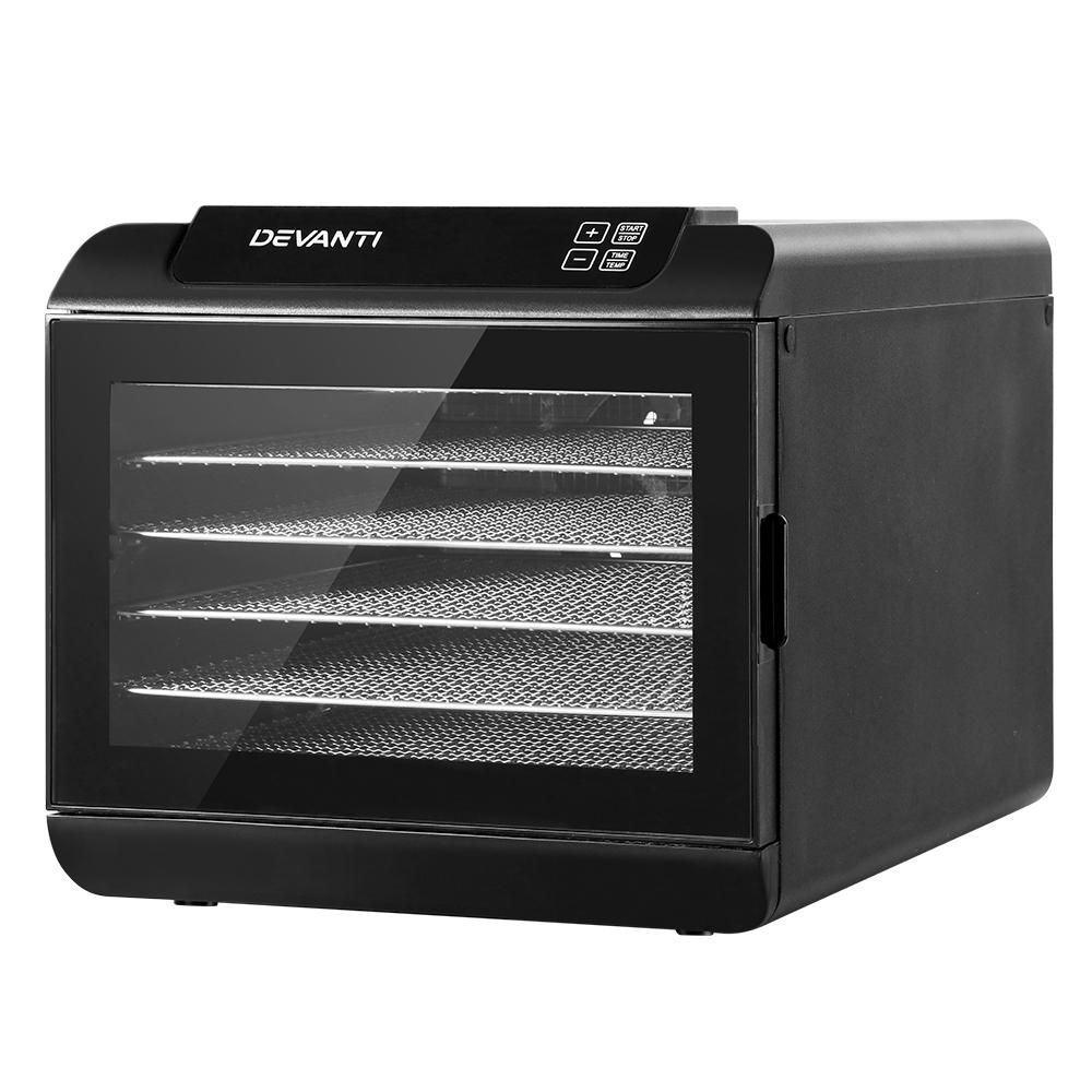 Devanti 6 Tray Food Dehydrators Commercial Beef Jerky Maker Fruit Dryer Black - Pizzazz Hub