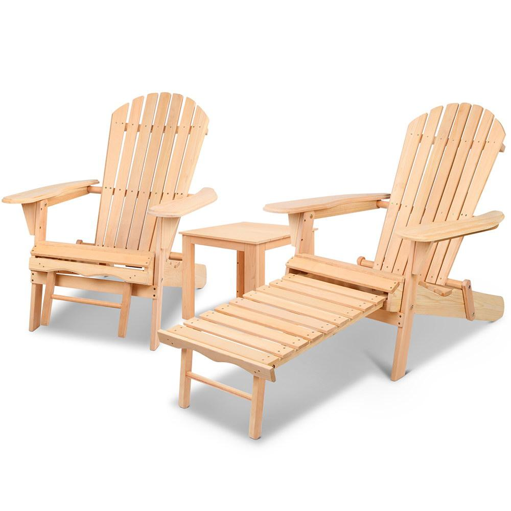 Gardeon 3 Piece Outdoor Beach Chair and Table Set - Pizzazz Hub