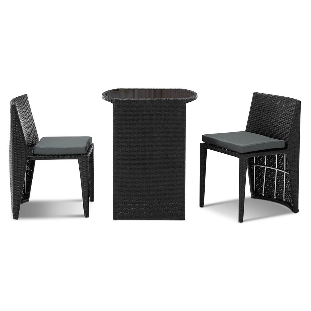 Gardeon 3 Piece PE Wicker Outdoor Table and Chair Set - Black - Pizzazz Hub