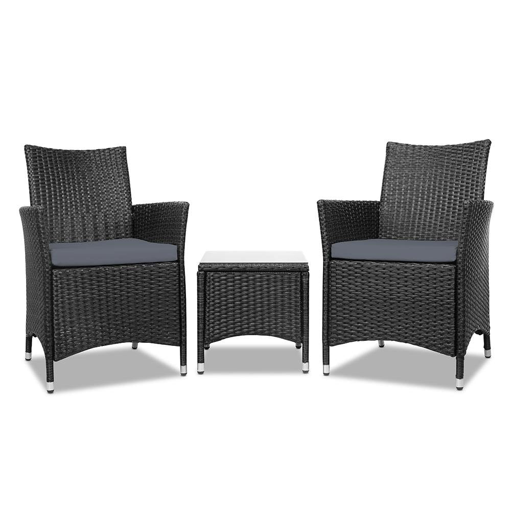 Gardeon 3 Piece Wicker Outdoor Furniture Set - Black - Pizzazz Hub