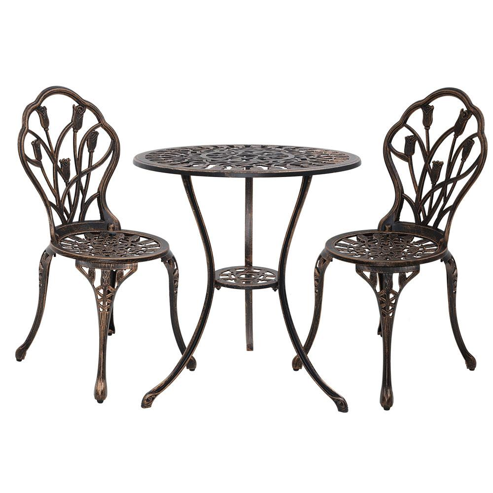 Gardeon 3PC Outdoor Setting Cast Aluminium Bistro Table Chair Patio Bronze - Pizzazz Hub