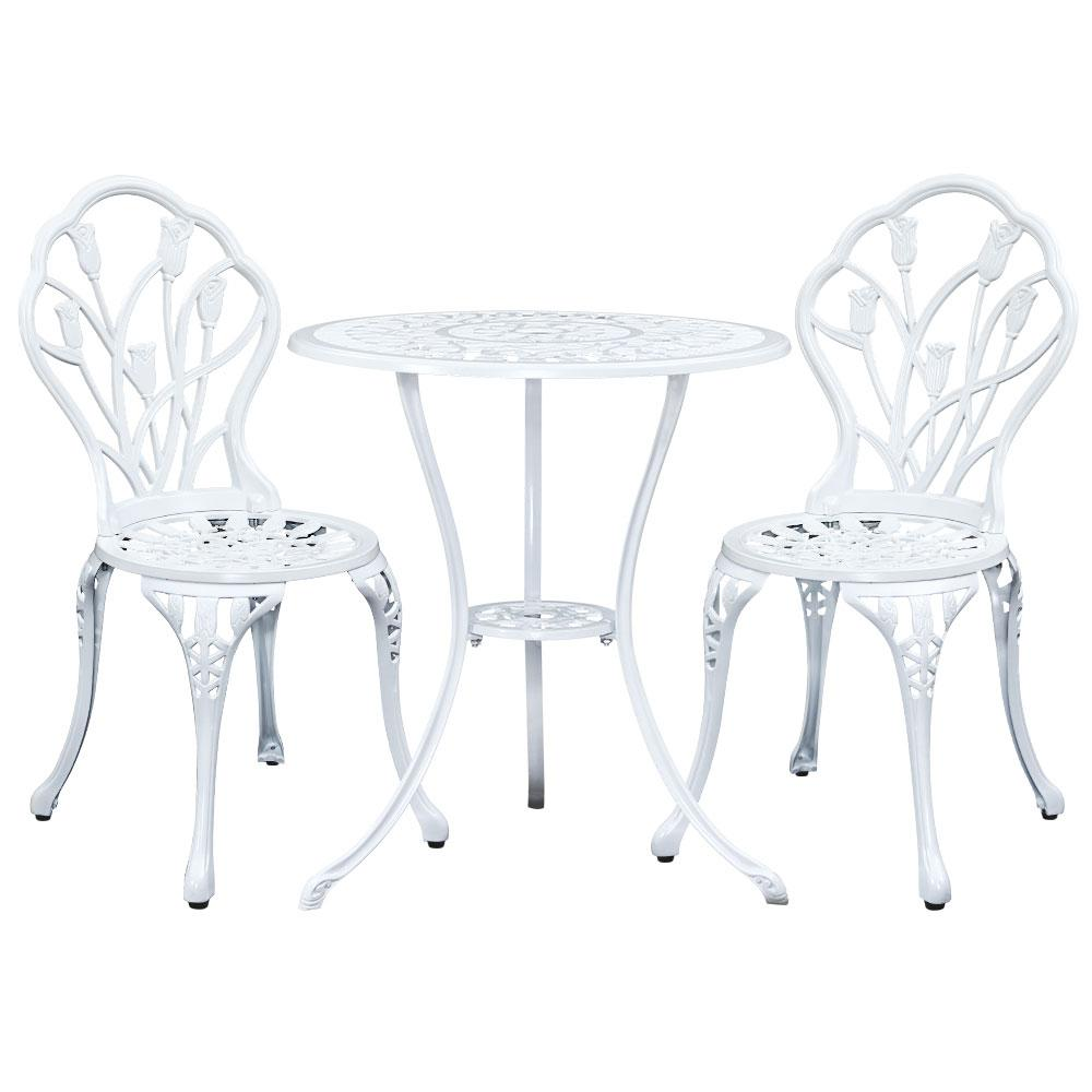 Gardeon 3PC Outdoor Setting Cast Aluminium Bistro Table Chair Patio White - Pizzazz Hub