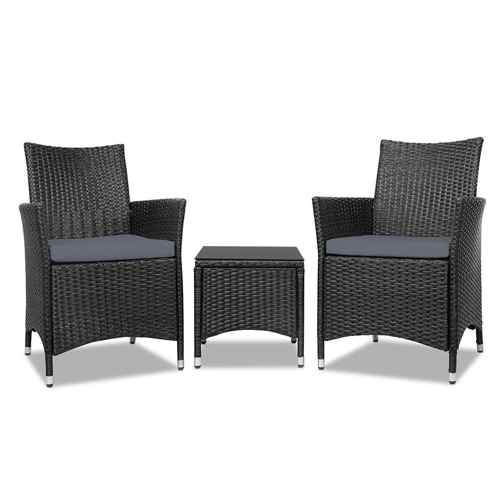 Gardeon 3pc Rattan Bistro Wicker Outdoor Furniture Set Black - Pizzazz Hub