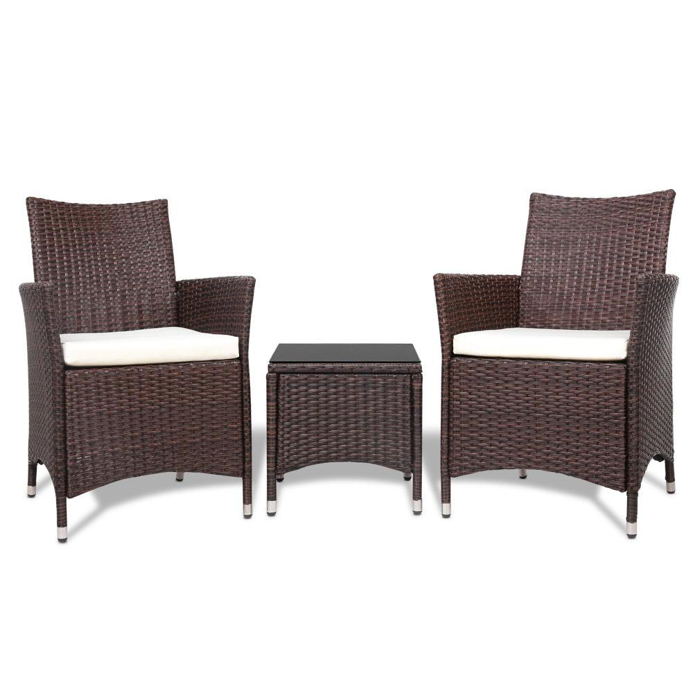 Gardeon 3pc Rattan Bistro Wicker Outdoor Furniture Set Brown - Pizzazz Hub