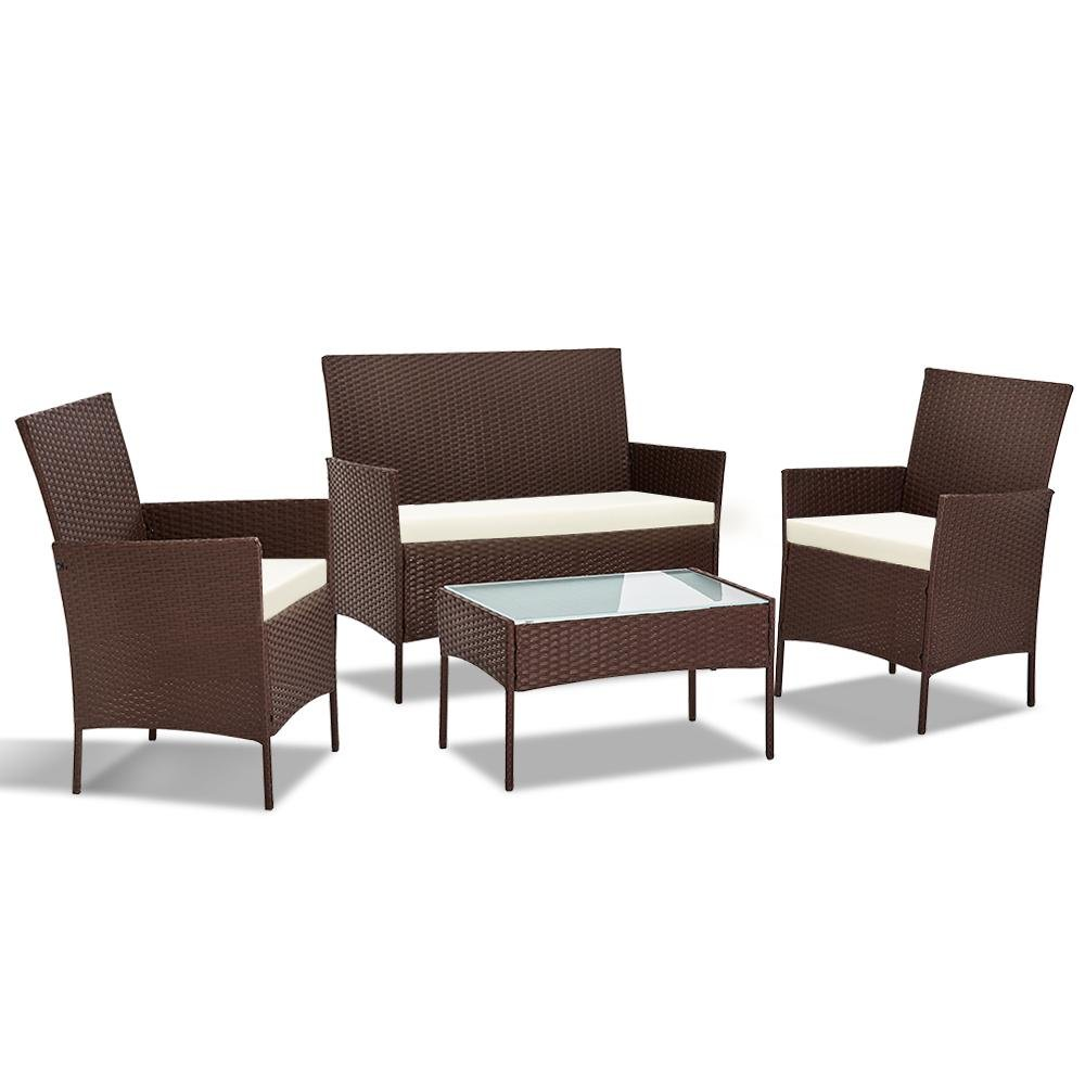 Gardeon 4-piece Wicker Outdoor Set - Brown - Pizzazz Hub