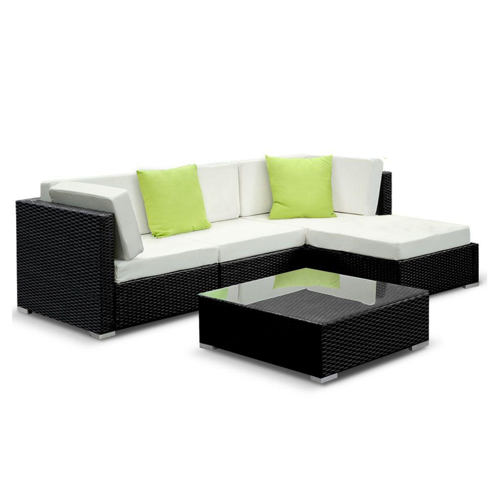 Gardeon 5PC Sofa Set with Storage Cover Outdoor Furniture Wicker - Pizzazz Hub