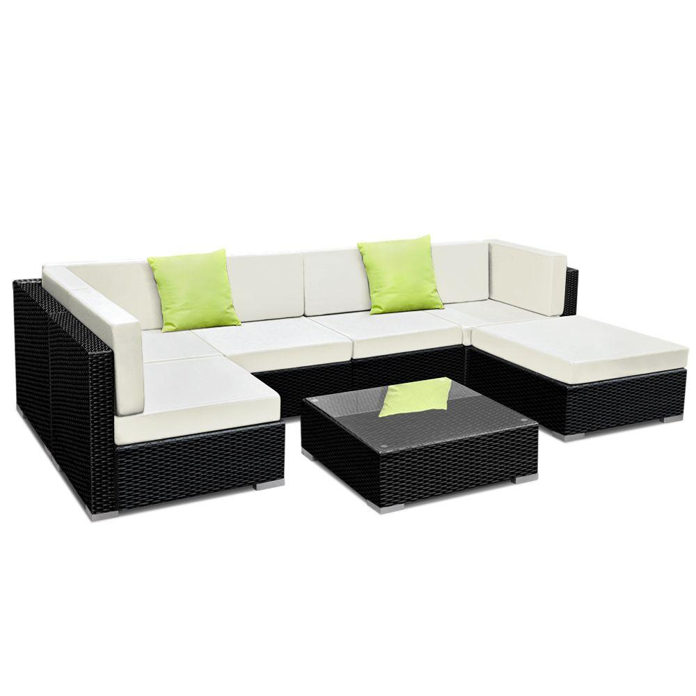 Gardeon 7PC Sofa Set with Storage Cover Outdoor Furniture Wicker - Pizzazz Hub