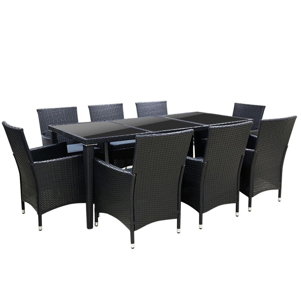 Gardeon 9 Piece Outdoor Dining Set - Black - Pizzazz Hub