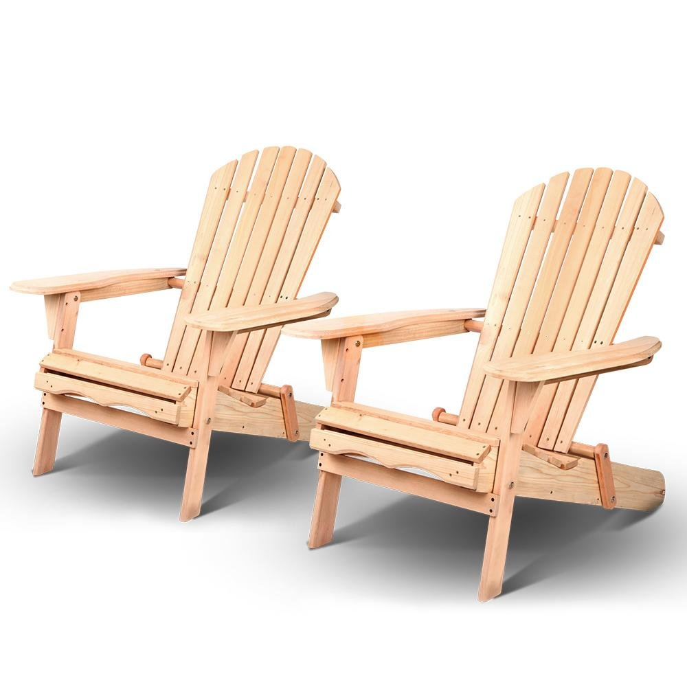 Gardeon Beach Chair Wooden Adirondack Lounge 2PC - Pizzazz Hub