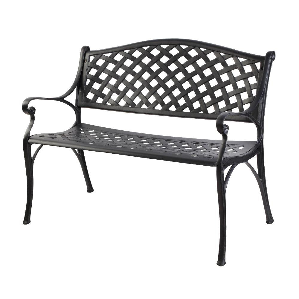 Gardeon Garden Bench Outdoor Seat Chair Cast Aluminium Park Black - Pizzazz Hub