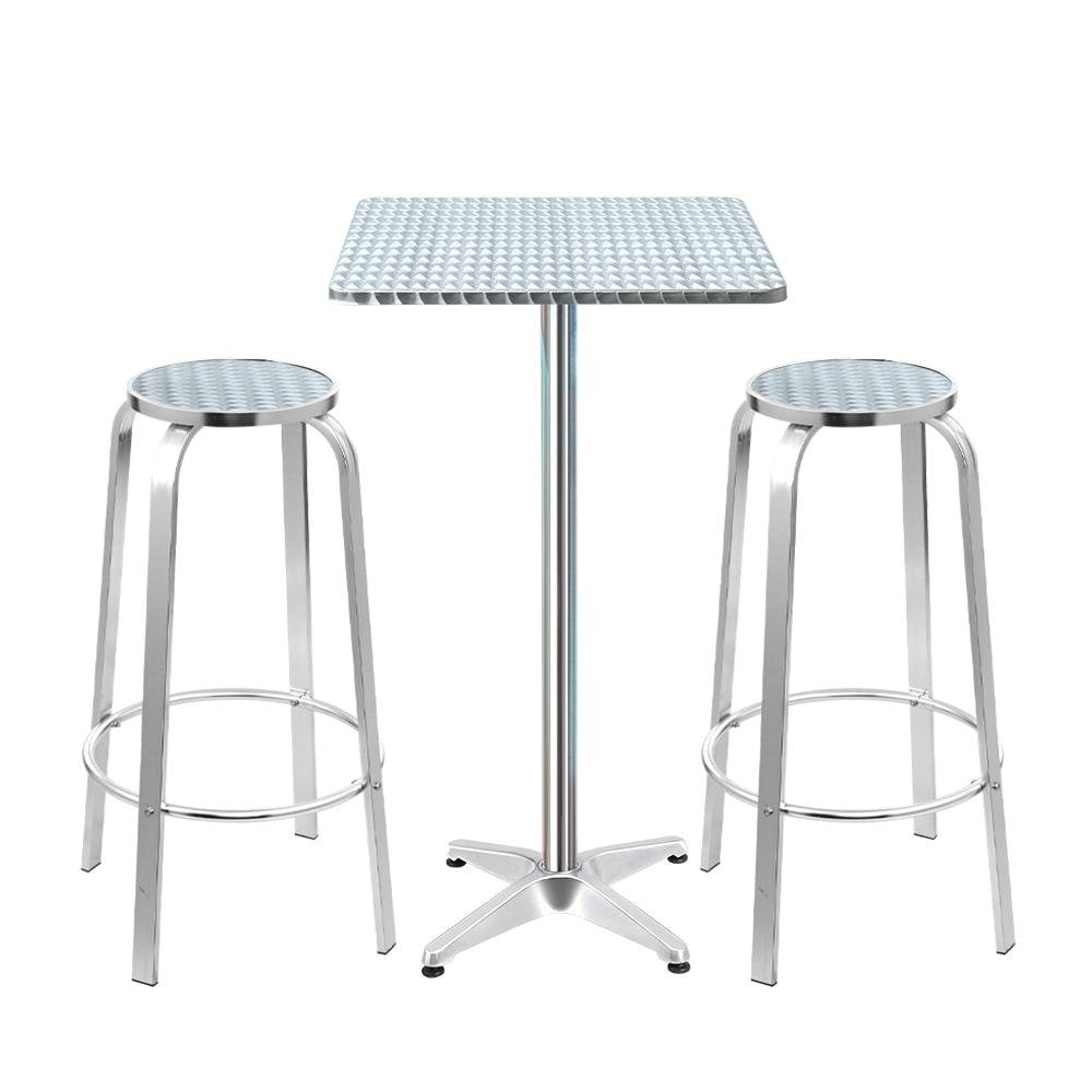 Gardeon Outdoor Bistro Set Adjustable Aluminium 3PC Square - Pizzazz Hub