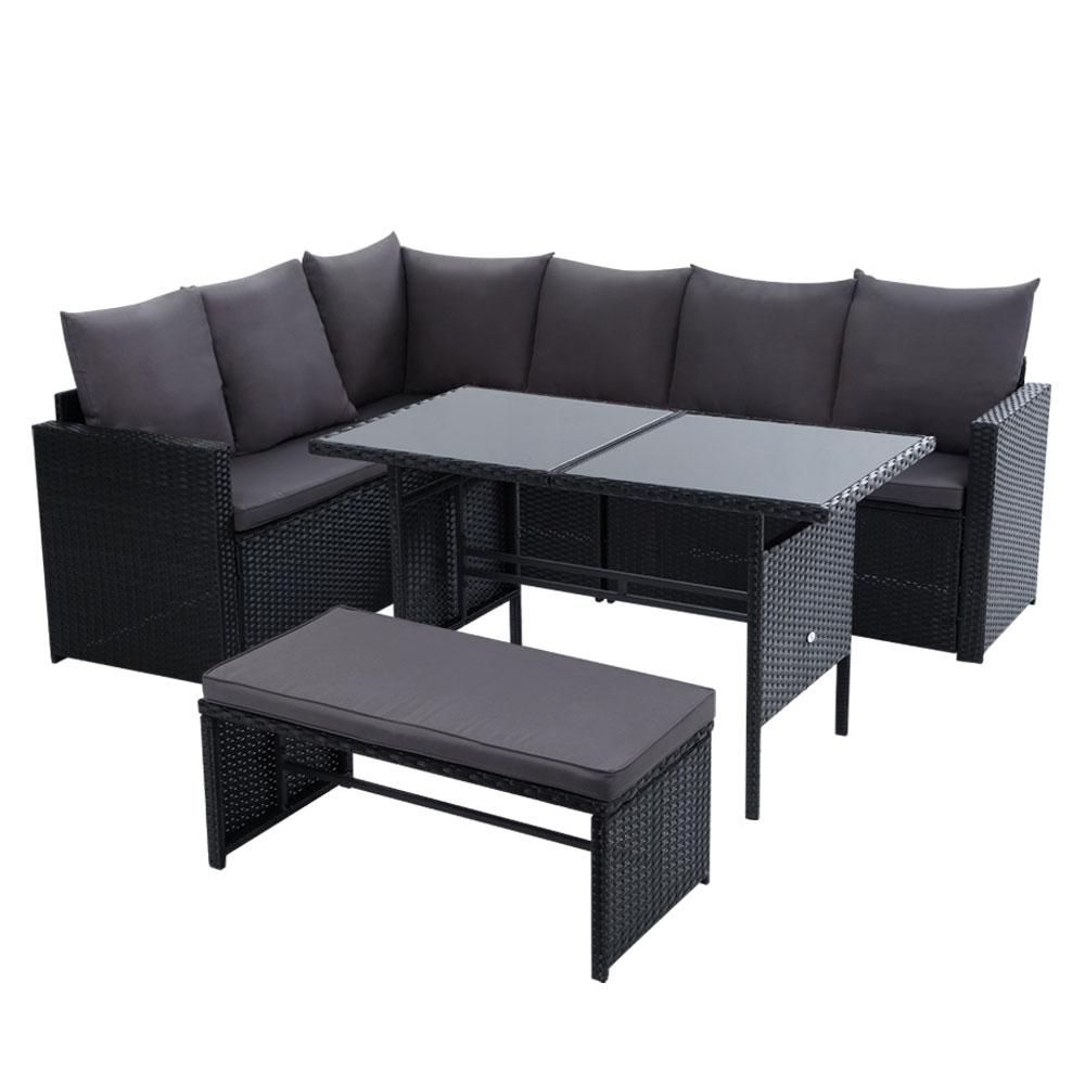 Gardeon Outdoor Furniture Dining Setting Sofa Set Lounge Wicker 8 Seater Black - Pizzazz Hub
