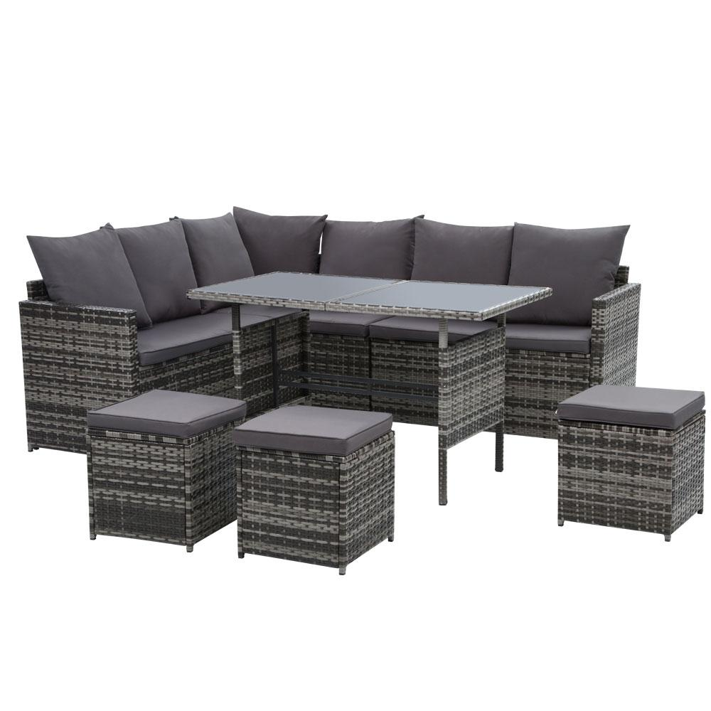 Gardeon Outdoor Furniture Dining Setting Sofa Set Lounge Wicker 9 Seater Mixed Grey - Pizzazz Hub