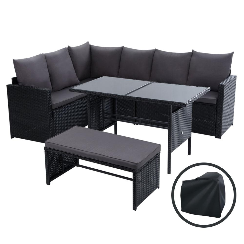 Gardeon Outdoor Furniture Dining Setting Sofa Set Wicker 8 Seater Storage Cover Black - Pizzazz Hub