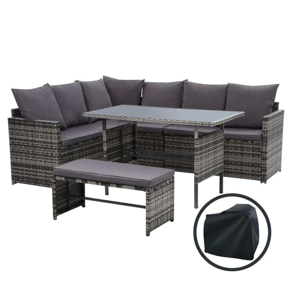 Gardeon Outdoor Furniture Dining Setting Sofa Set Wicker 8 Seater Storage Cover Mixed Grey - Pizzazz Hub