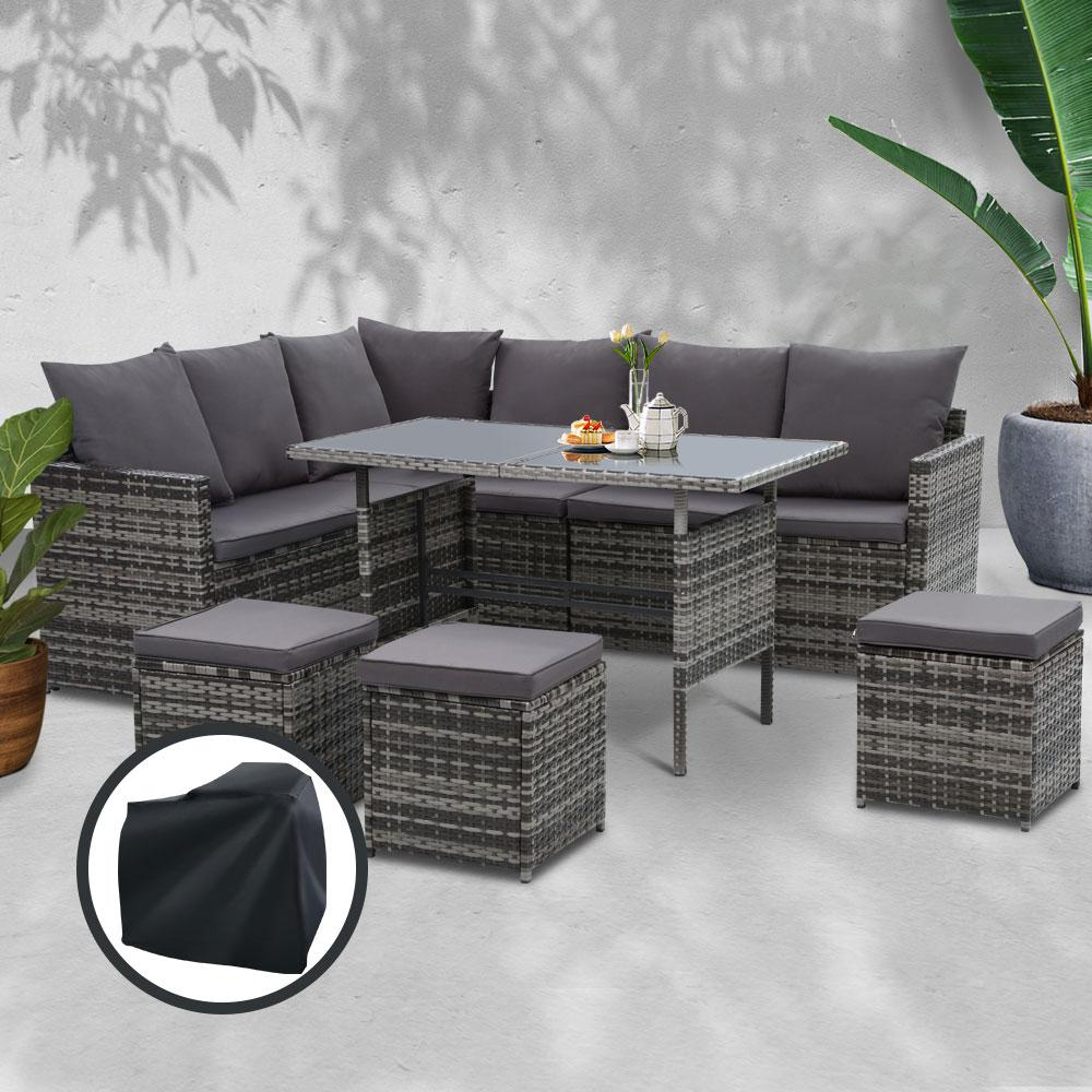 Gardeon Outdoor Furniture Dining Setting Sofa Set Wicker 9 Seater Storage Cover Mixed Grey - Pizzazz Hub