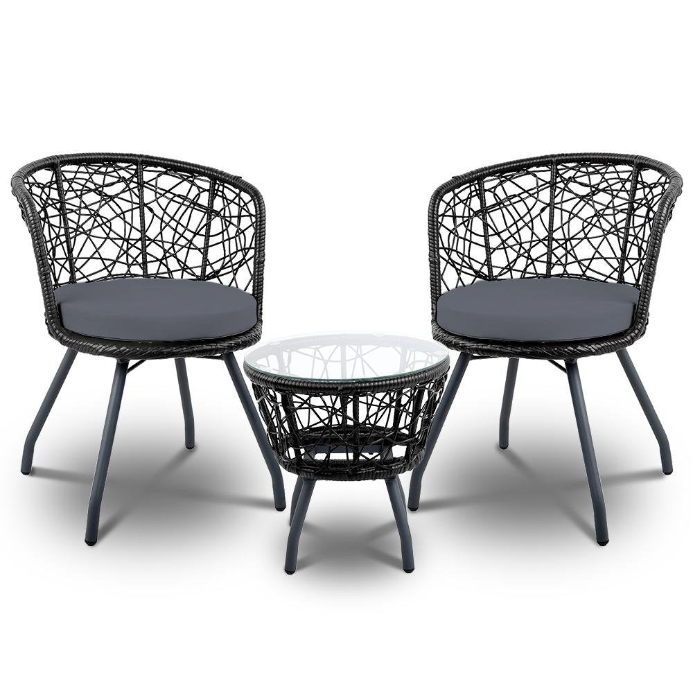 Gardeon Outdoor Patio Chair and Table - Black - Pizzazz Hub