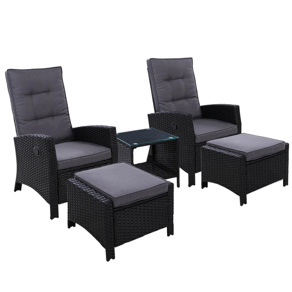 Gardeon Outdoor Patio Furniture Recliner Chairs Table Setting Wicker Lounge 5pc Black - Pizzazz Hub